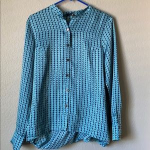Ro & De Blue Black Open Back Blouse Medium